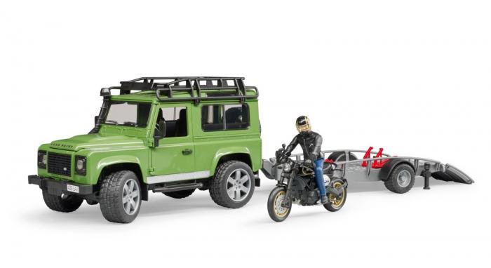 Masina Jeep Land Rover verde cu statie de tractare, motocicleta Ducati Scrambler Cafe Racer si figurina Bruder 6