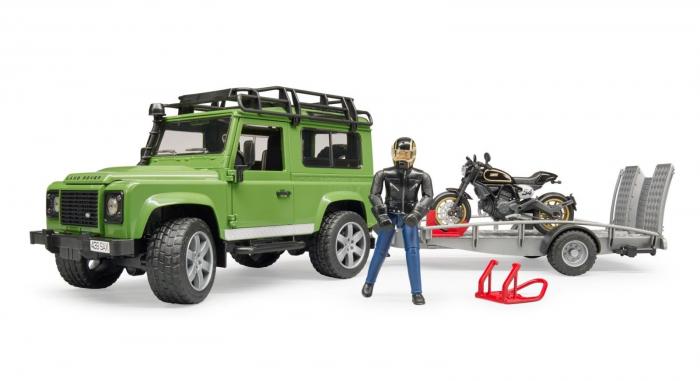 Masina Jeep Land Rover verde cu statie de tractare, motocicleta Ducati Scrambler Cafe Racer si figurina Bruder 0