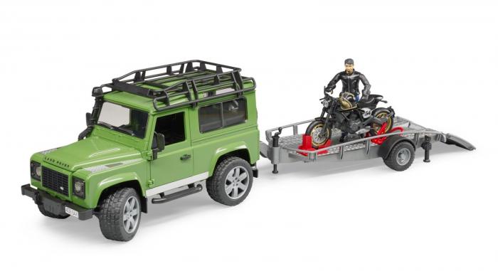 Masina Jeep Land Rover verde cu statie de tractare, motocicleta Ducati Scrambler Cafe Racer si figurina Bruder 5