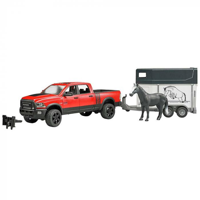 Jucarie Jeep RAM 2500 Power Wagon cu remorca cai si figurina cal Bruder 0