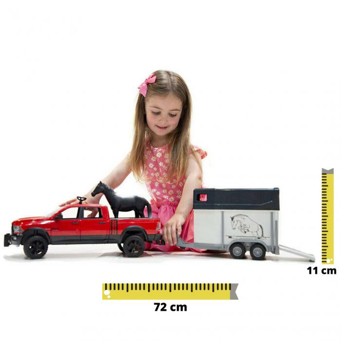 Jucarie Jeep RAM 2500 Power Wagon cu remorca cai si figurina cal Bruder [0]