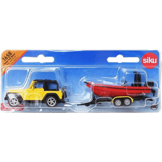 Jucarie macheta Jeep Wrangler cu barca de viteza, Siku [3]