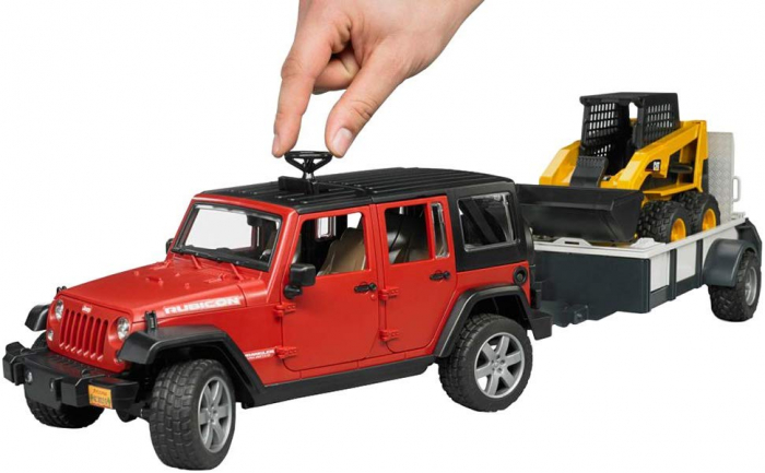 Masina tip Jeep Wrangler Unlimited rosie cu remorca de transport si mini buldozer CAT, Bruder 1