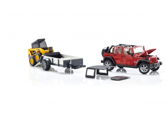 Masina tip Jeep Wrangler Unlimited rosie cu remorca de transport si mini buldozer CAT, Bruder 3