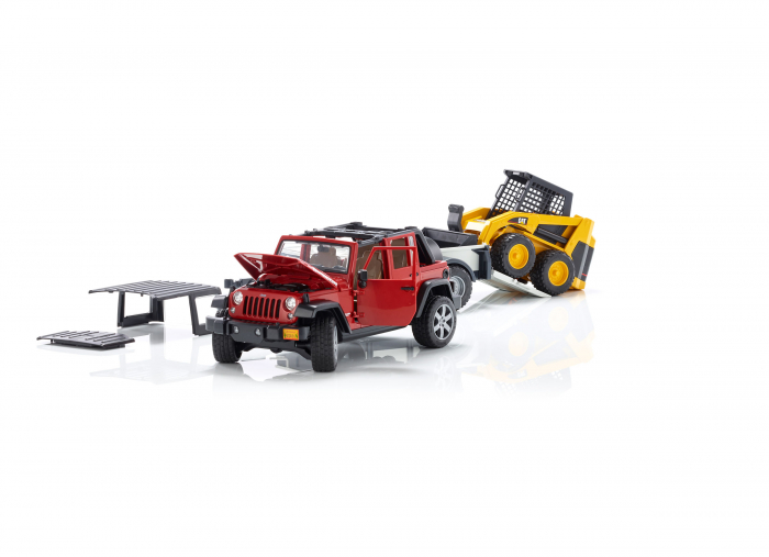 Masina tip Jeep Wrangler Unlimited rosie cu remorca de transport si mini buldozer CAT, Bruder 4