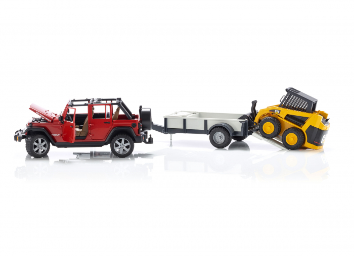 Masina tip Jeep Wrangler Unlimited rosie cu remorca de transport si mini buldozer CAT, Bruder 2