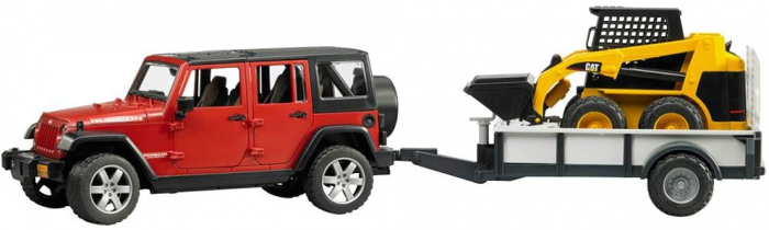 Masina tip Jeep Wrangler Unlimited rosie cu remorca de transport si mini buldozer CAT, Bruder [5]