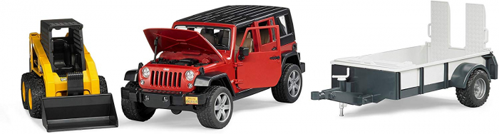Masina tip Jeep Wrangler Unlimited rosie cu remorca de transport si mini buldozer CAT, Bruder 0