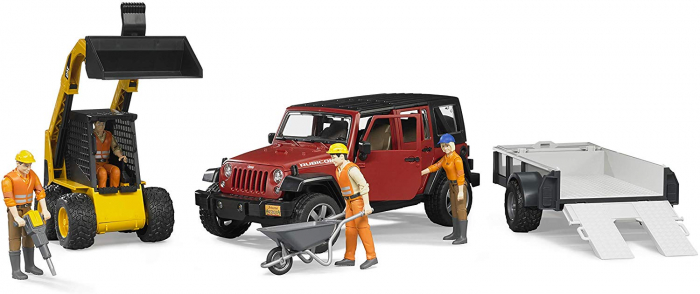 Masina tip Jeep Wrangler Unlimited rosie cu remorca de transport si mini buldozer CAT, Bruder 6
