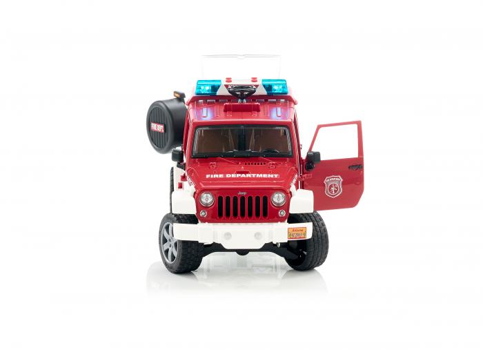 Vehicul Jeep Wrangler de pompieri cu figurina pompier Bruder 2