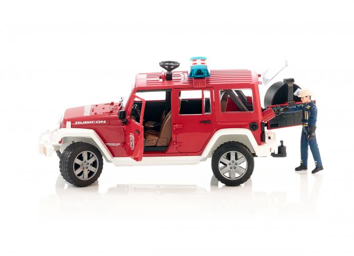 Vehicul Jeep Wrangler de pompieri cu figurina pompier Bruder 1