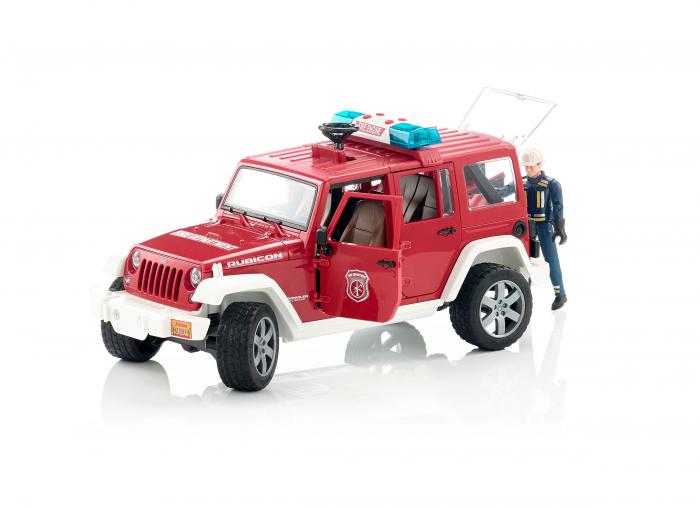 Vehicul Jeep Wrangler de pompieri cu figurina pompier Bruder 0
