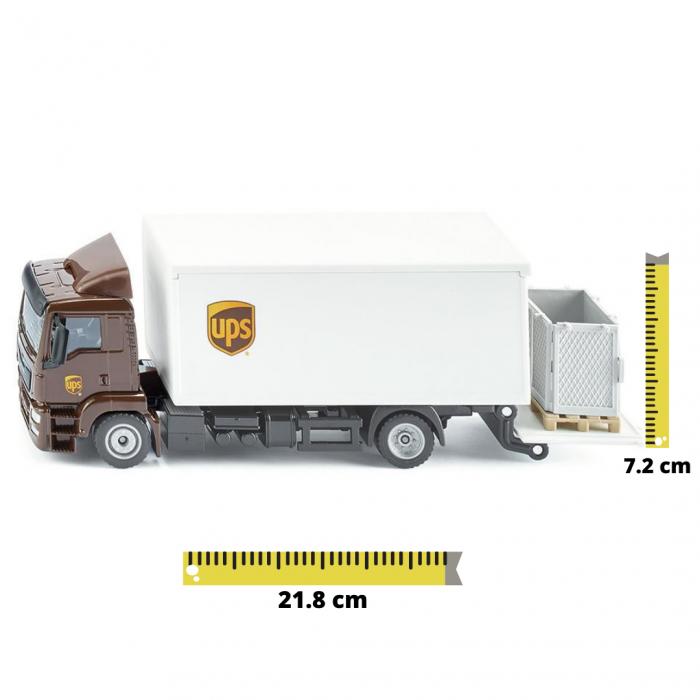 Jucarie macheta camion MAN transporter cu platforma ridicare colete si accesorii [0]