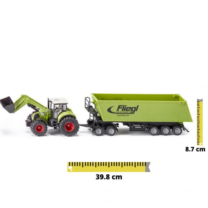 Jucarie macheta tractor Claas Axion cu incarcator frontal si basculanta, Siku [0]