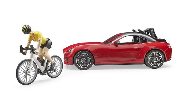 Jucarie masina Roadster cu bicicleta si figurina biciclist, Bruder [3]