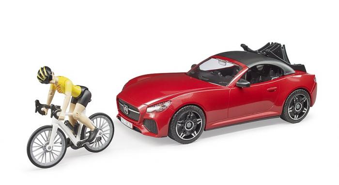 Jucarie masina Roadster cu bicicleta si figurina biciclist, Bruder [0]