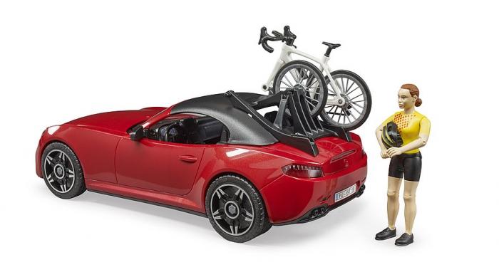 Jucarie masina Roadster cu bicicleta si figurina biciclist, Bruder [1]