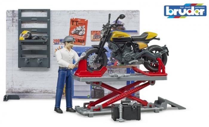 Jucarie service motociclete cu motocicleta Ducati Full Throttle Bworld si mecanic, Bruder [5]