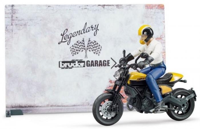 Jucarie service motociclete cu motocicleta Ducati Full Throttle Bworld si mecanic, Bruder [1]