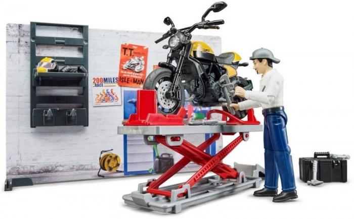 Jucarie service motociclete cu motocicleta Ducati Full Throttle Bworld si mecanic, Bruder [4]