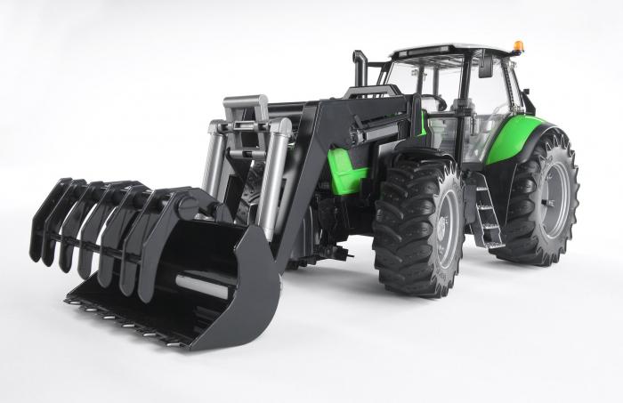 Tractor Deutz Agrotron verde cu incarcator frontal, suspensie si cupla pentru remorca, Bruder [0]
