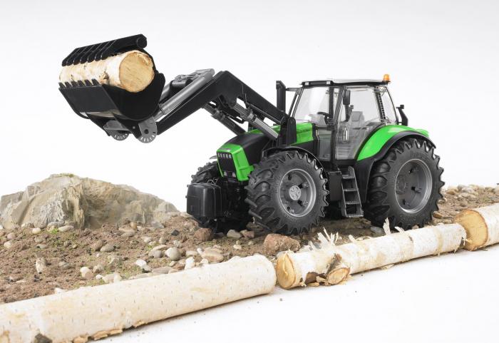 Tractor Deutz Agrotron verde cu incarcator frontal, suspensie si cupla pentru remorca, Bruder [2]