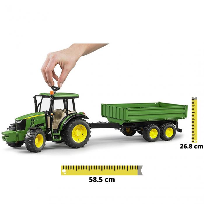 Tractor John Deere 5115 M verde cu remorca basculanta, Bruder [0]