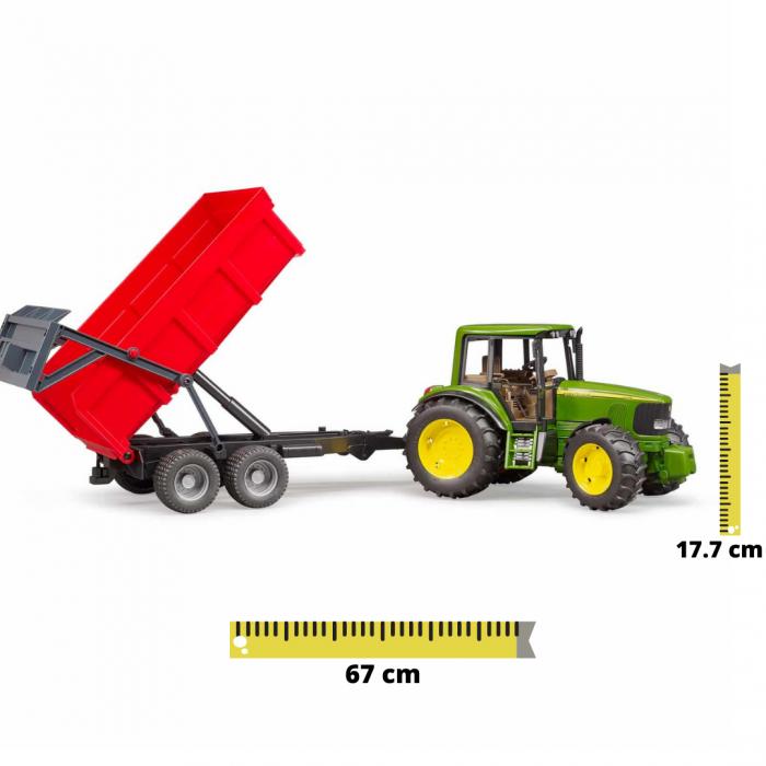 Tractor John Deere 6920 verde cu remorca basculanta rosie, Bruder [0]