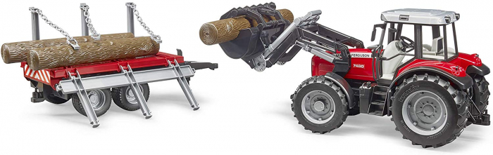 Tractor Massey Ferguson cu incarcator frontal si remorca pentru lemne cu 3 trunchiuri de lemn incluse, Bruder 3
