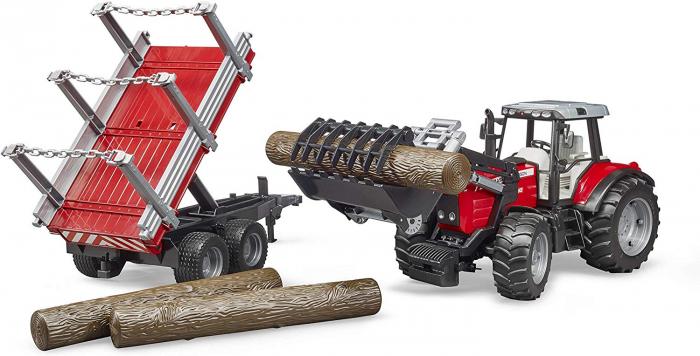 Tractor Massey Ferguson cu incarcator frontal si remorca pentru lemne cu 3 trunchiuri de lemn incluse, Bruder 0