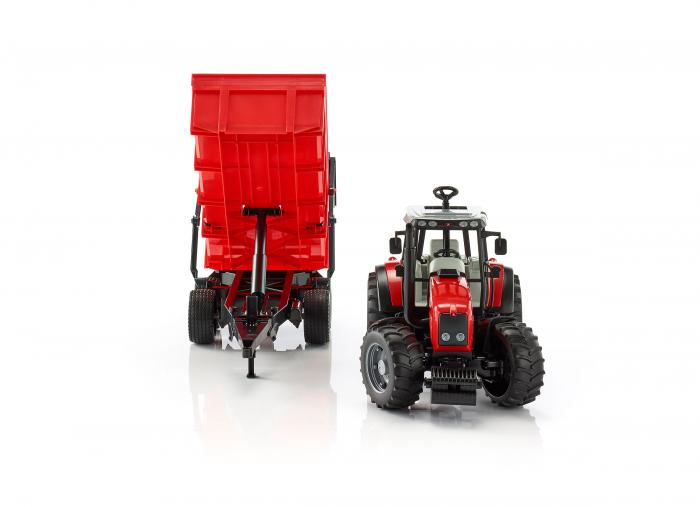 Jucarie tractor Massey Ferguson cu remorca basculabila Bruder 1