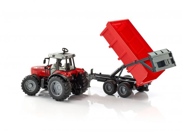 Jucarie tractor Massey Ferguson cu remorca basculabila Bruder 3