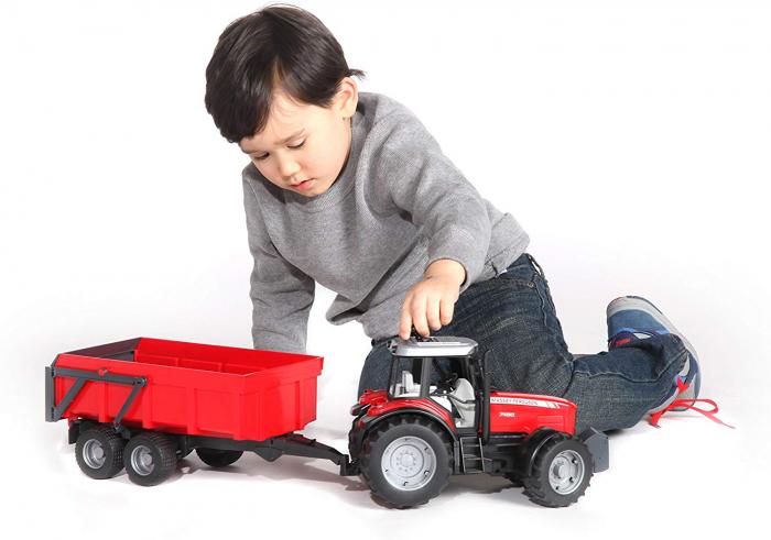 Jucarie tractor Massey Ferguson cu remorca basculabila Bruder 6