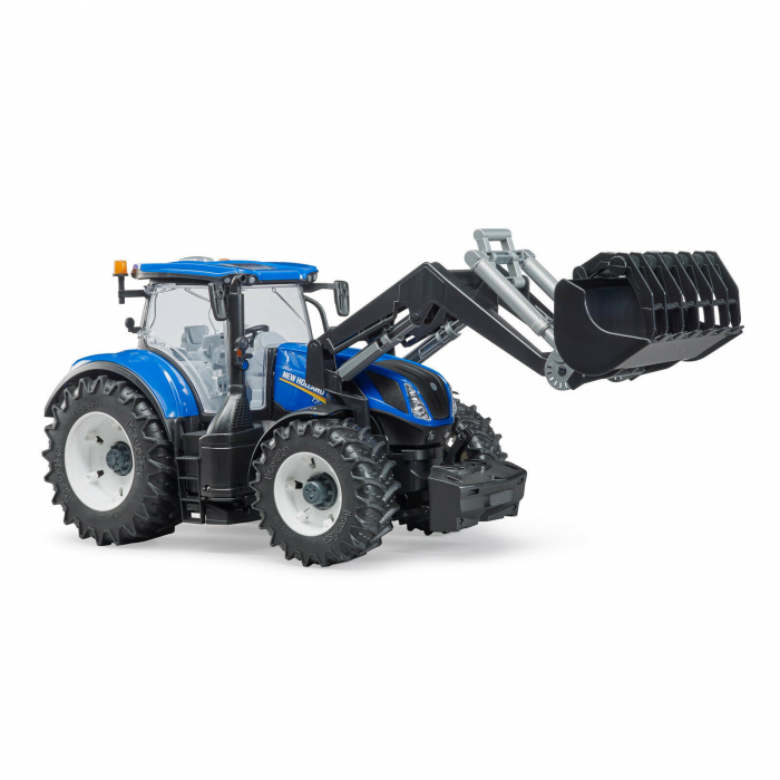 Tractor New Holland albastru cu incarcator frontal Bruder 0