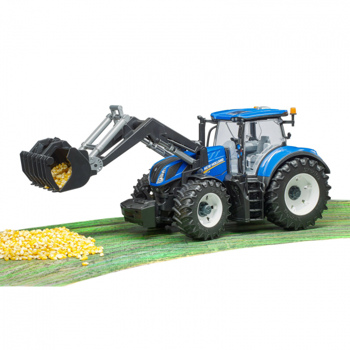 Tractor New Holland albastru cu incarcator frontal Bruder 2