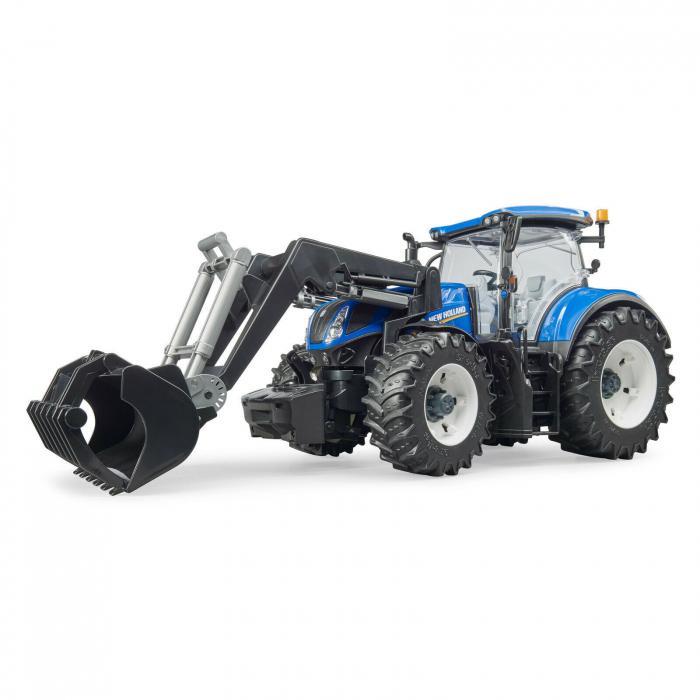 Tractor New Holland albastru cu incarcator frontal Bruder [1]