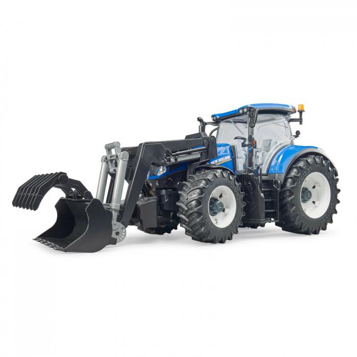 Tractor New Holland albastru cu incarcator frontal Bruder 3