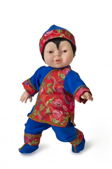 Papusa baietel Aki, colectia Educativa Friends of the World, Berjuan luxury dolls 0