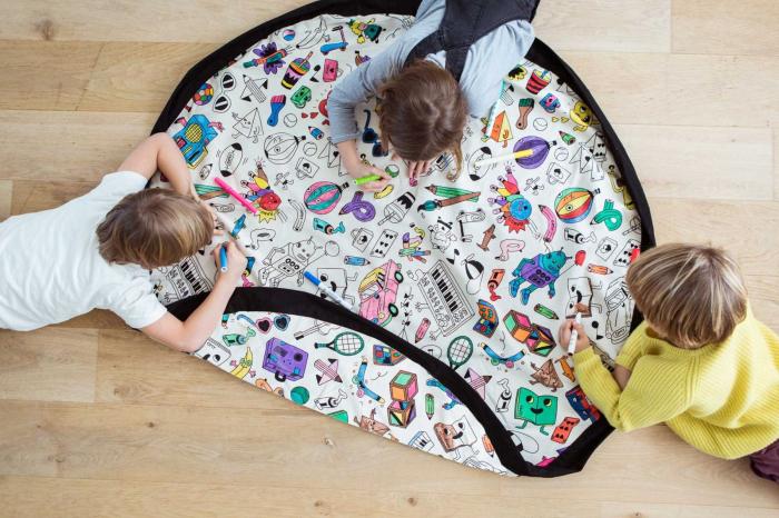 Patura de joaca 3 in 1 Play &Go, plansa de colorat, rucsac de depozitat 5