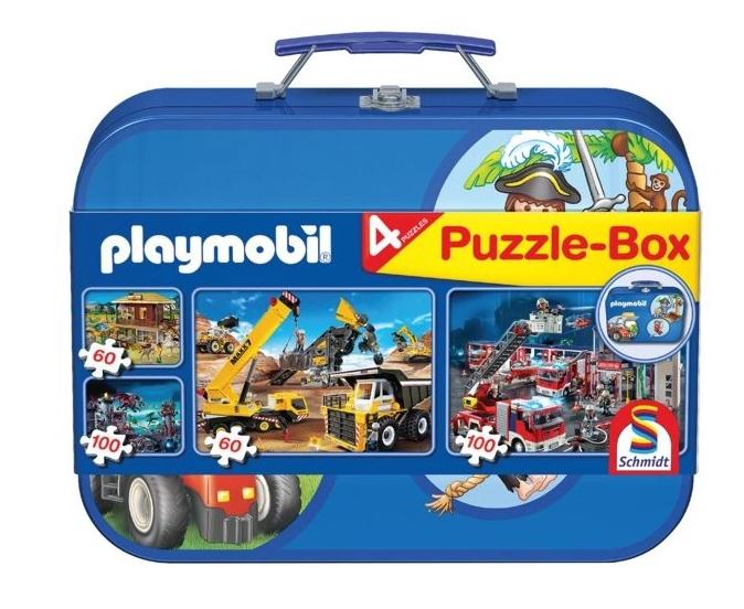 Set 4 puzzle tematice in cutie metalica Schmidt 0