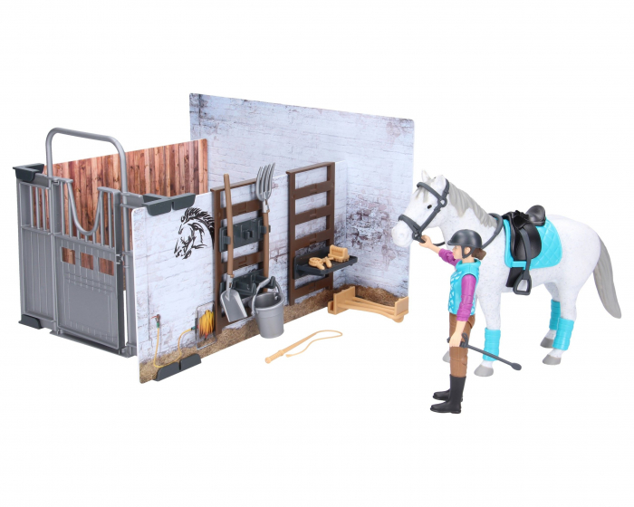 Set bworld hambar cai cu figurina cal, ingrijitor si accesorii Bruder 0