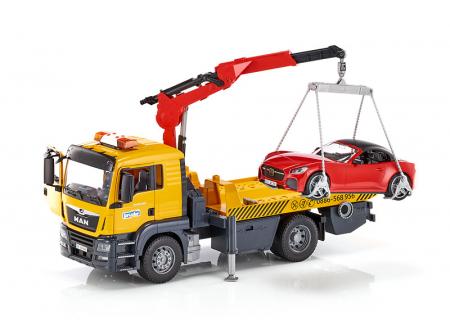 Jucarie camion platforma de tractare Man TGA cu modul de lumini si sunet+ masina Roadster Bruder0