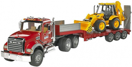 Jucarie Camion Mack Granite cu trailer de transport agabaritic cu excavator JCB 4CX inclus - 93,5 x 18,5 x 26,5 cm0