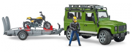 Jucarie Land Rover Defender cu remorca transport + motocicleta si pilot0