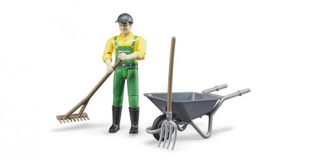 Jucarie set figurina fermier cu accesorii, Bruder [1]