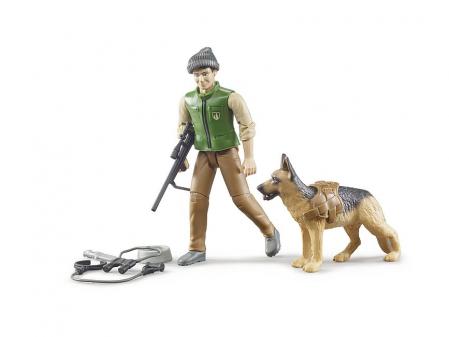 Jucarie figurina padurar cu echipament si figurina caine, Bruder [1]