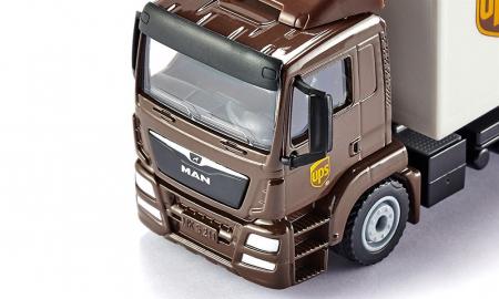 Jucarie macheta camion MAN transporter cu platforma ridicare colete si accesorii [7]