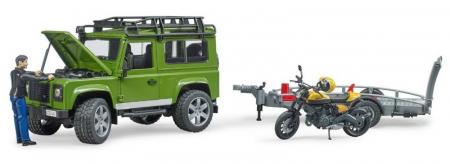 Jucarie Land Rover Defender cu remorca transport + motocicleta si pilot1