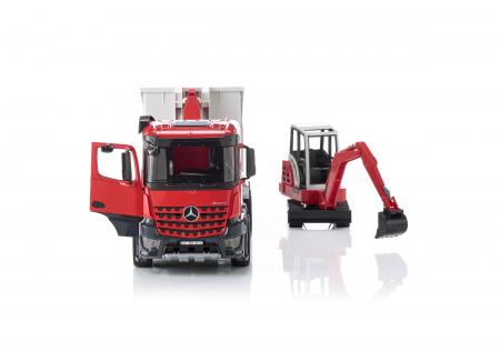 Jucarie camion Mercedes Benz Arocs cu container detasabil si mini excavator Schaeff, Bruder [0]