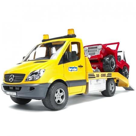 Masina Sprinter Mercedes Benz cu platforma de tractare + vehicul, Bruder [1]